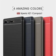 For Xperia XZ1 compact Case Cover Carbon Fiber Brushed TPU Silicone Back Shell Funda Sony Compact 4.6 inch Coque