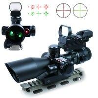 Высокое качество Airsoft 2.5 10x40 Охота тактический прицел ж/красный лазер & голографический зеленый/красный точка зрения Бесплатная доставка