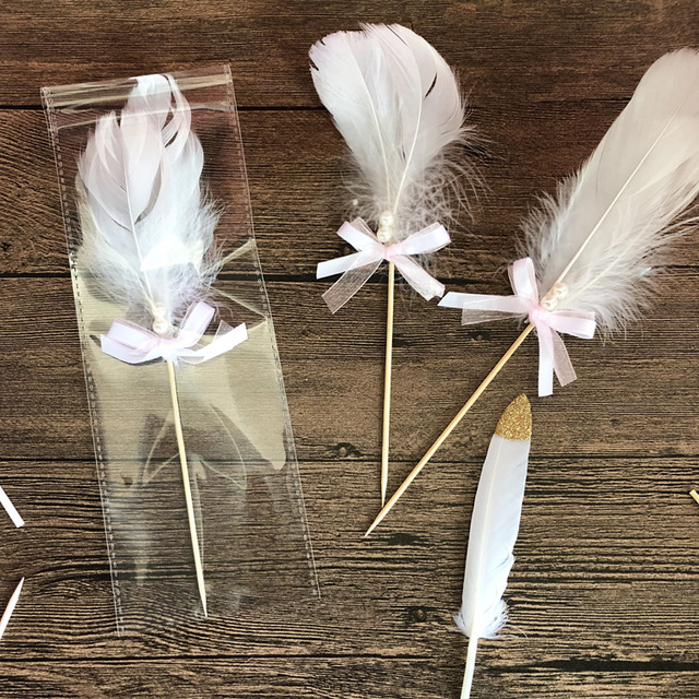 20pcs White Feather Cake Decorating Supplies Birthday decorations ...