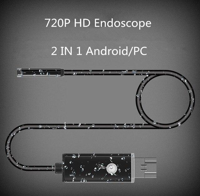 1 m 2 m 7 MM Lente 2 EM 1 Android/PC HD 720 P Endoscópio Tubo Cobra À Prova D' Água endoscópio USB Inspeção Câmera Mini Com 6 LEVOU