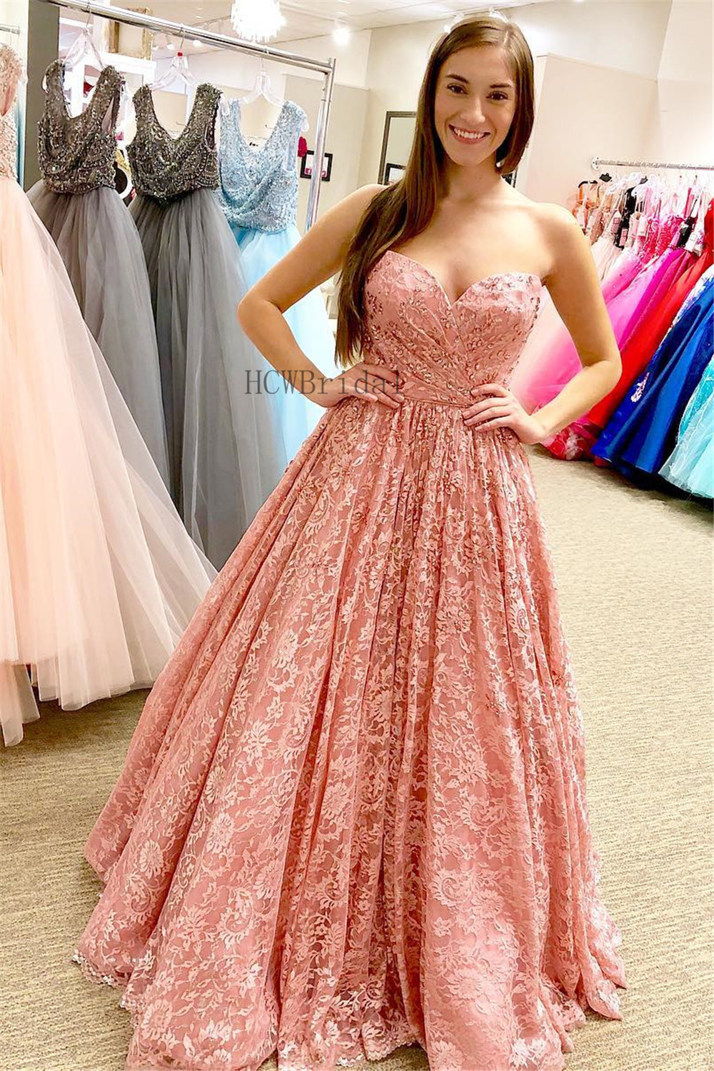 Wonderful Lace   Prom     Dresses   Sweetheart A Line Floor Length Long Elegant Evening Gown 2019 Custom Made High Quality Party   Dress