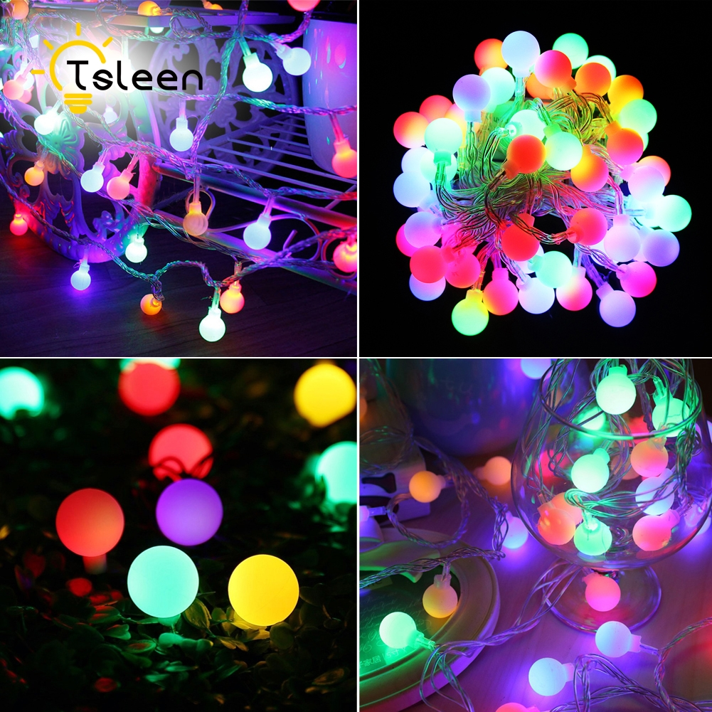Guirlande Lumineuse Exterieur Led Us 49 75 44 Off Tsleen 4pcs Ip65 Solar Led String Lights Warm White Colorful Ball Fairy Guirlande Lumineuse Exterieur Led Christmas Lights In