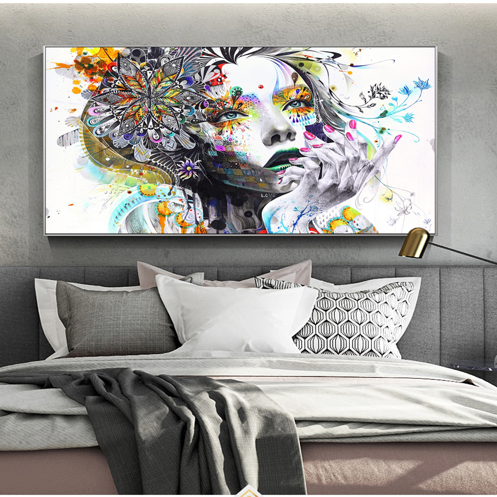 Abstract Butterfly Girl Wall Art Canvas Prints Modern Girl With Flowers Poster On The Wall Cuadros Picture For Living Room Decor in Painting Calligraphy from Home Garden