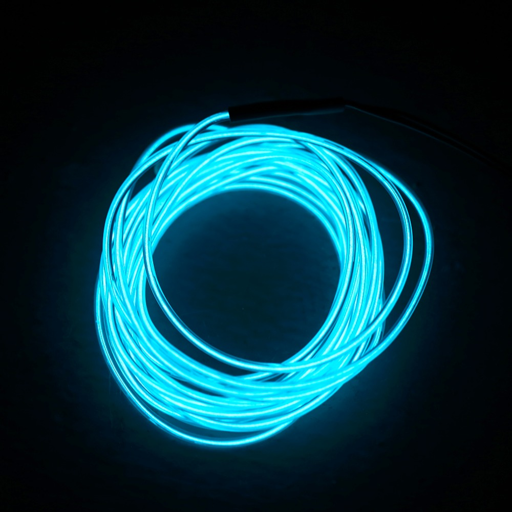 5M 3 12V Flexible Neon Light Glow EL Wire Rope tape Cable Strip LED ...