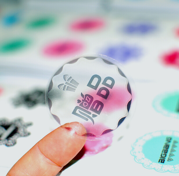 Customized custom logo print transparent pvc sticker clear see through adhesive plastic or