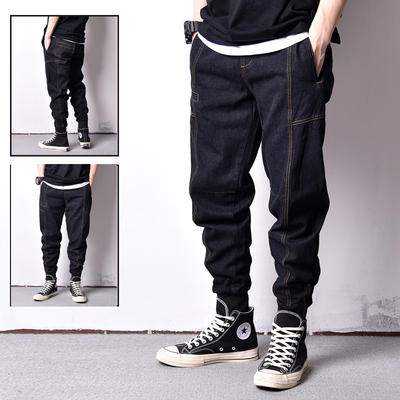 Japanese Style Fashion Men Jeans Loose Fit Ankle Banded Jogger Pants Men Vintage Cargo Pants High Street Hip Hop Jeans homme in Jeans from Men 39 s Clothing
