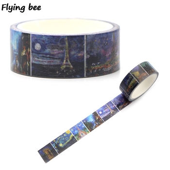 Flyingbee 15mmX5m Paper Washi Tape Van gogh painting Adhesive Tape DIY Scrapbooking Sticker starry sky Label Masking Tape X0329 ca1434 vang gogh painting art decorative adhesive tape masking washi tape diy scrapbooking sticker label stationery
