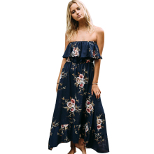 Off shoulder ruffle print long dress Women floral boho summer dress 2017 sexy elastic waist maxi