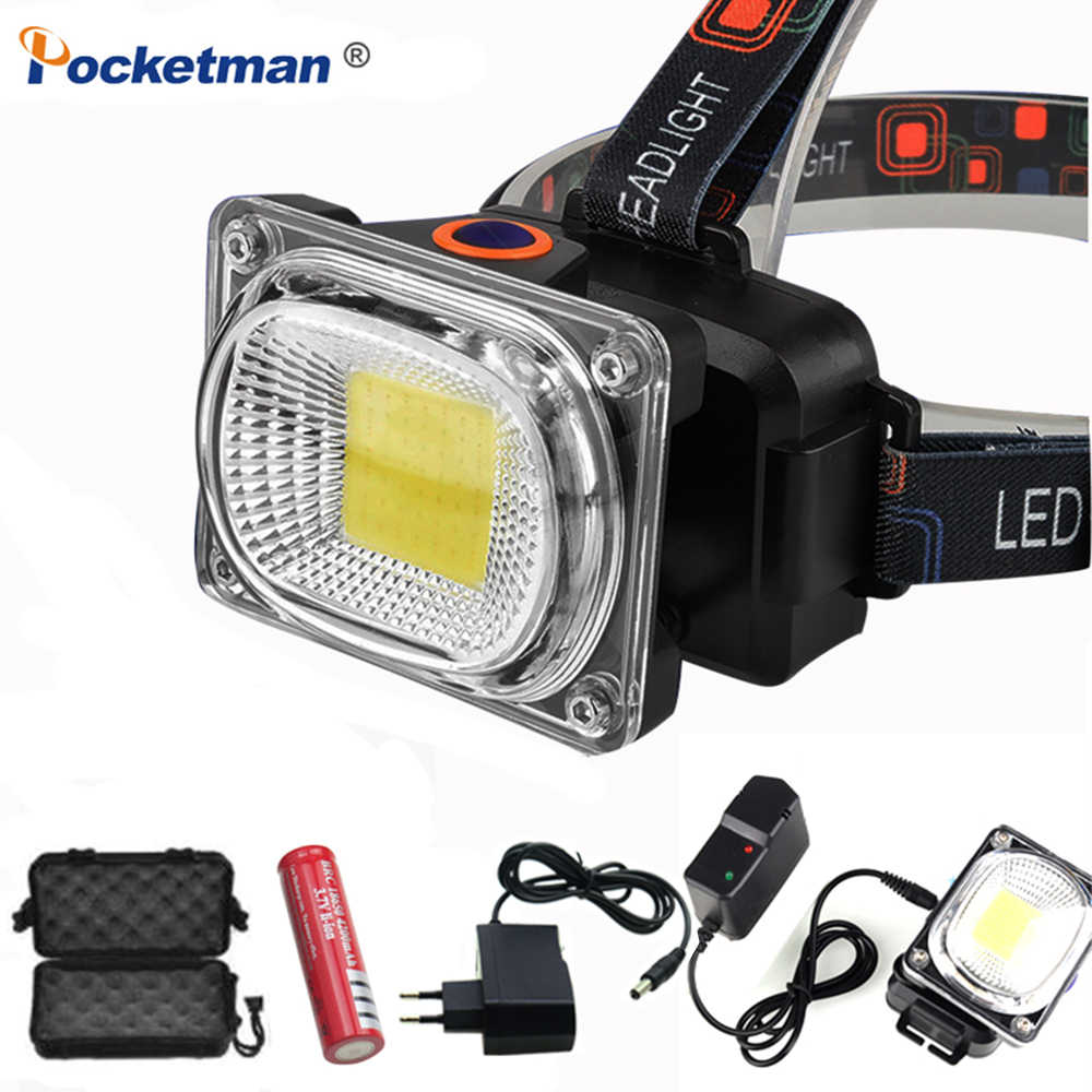 New Powerful COB LED Headlight DC Rechargeable Headlamp 3 Modes Waterproof  Head Torch with 18650 Battery for Hunting Fishing