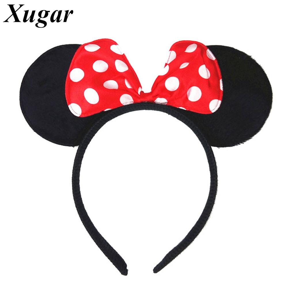silver Minnie Mouse Ears Headband Cute Ears Hair Hoop Hairband Accessories Birthday Party Favor Princess Headband