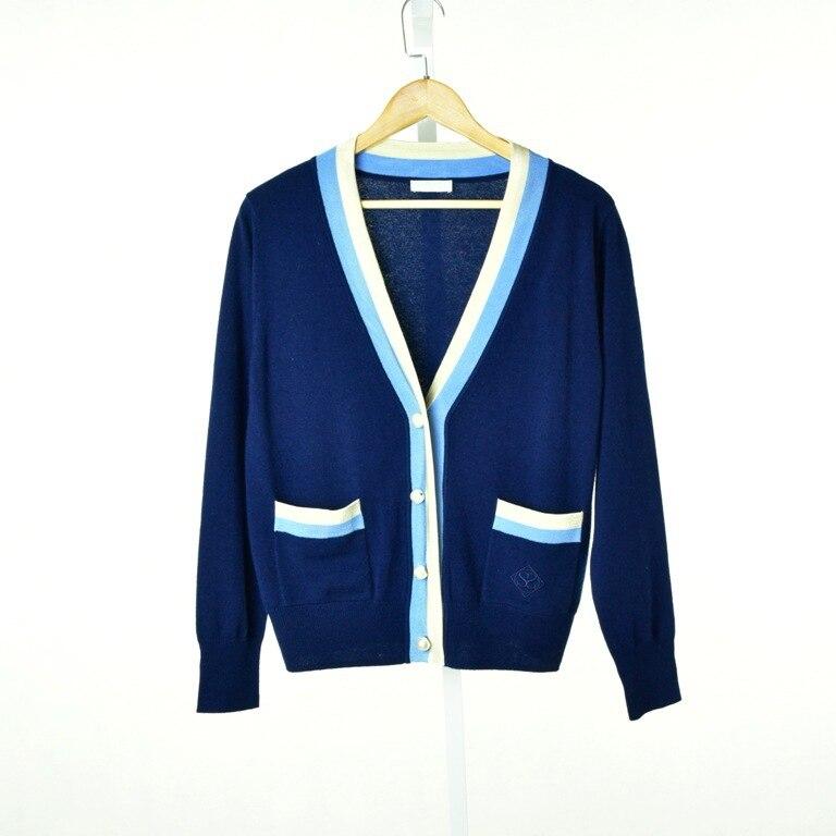Invierno Suéter Y Estilo Cuello Primavera Bolsillo Punto De Las Azul Casual Chaqueta Botón En V 2019 Con Mujeres Verano Z6A5wqqR