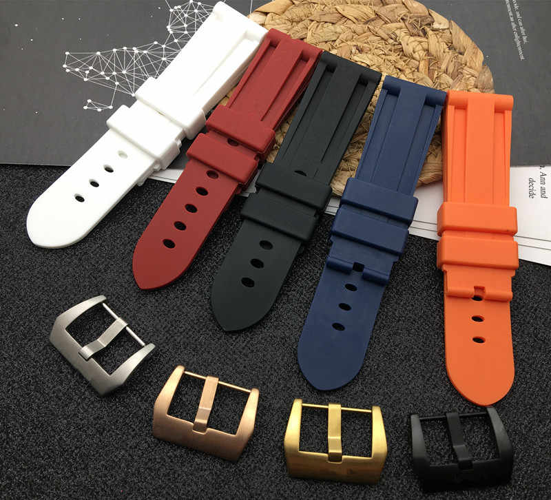 22mm 24mm 26mm Black Blue Red Orange white watch band Soft Silicone Rubber Watchband replacement For Panerai Watch Strap tools