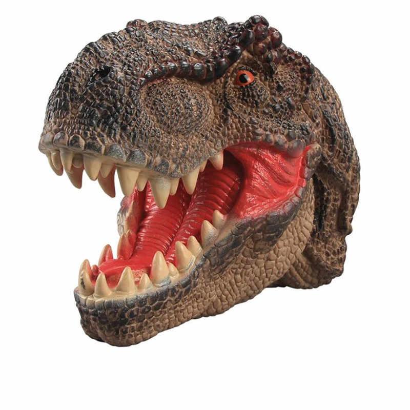 Nova Fantoche de Mão de Dinossauro Realista Vinil Macio de Borracha Cabeça de Animal Fantoche de Mão Luvas Novetly Brinquedos Figura Modelo Crianças Xmas Gift