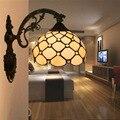 Европейский Винтажный настенный светильник  витражные стеклянные бусины  настенный светильник для гостиной  спальни  прикроватный светиль...