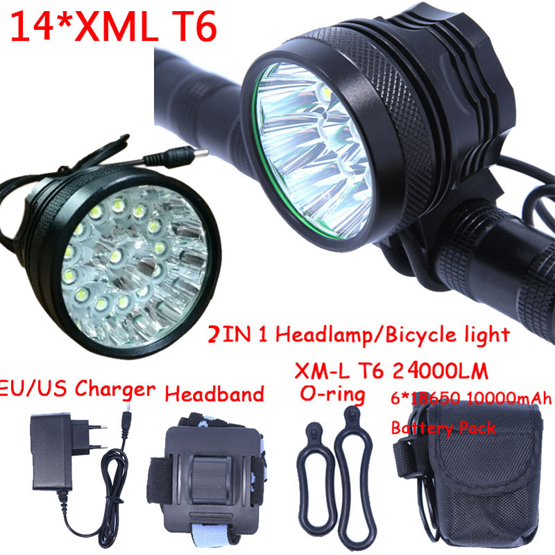 Super Power Bright 2in1 Headlamp Headlight 14 x XM-L T6 LED Bicycle Light Cycling Bike Head Lamp + 6*18650 Battery Pack+Charger super bright bike bicycle light supwildfire 50000lm 15 x xm l t6 led power