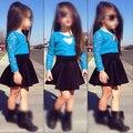 New fashion summer girls children set kids clothing Baby Girls Long Sleeve Lace Tops + Skirt blue Clothes Set 2pcs