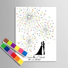 Fireworks Fingerprint Signature Canvas Painting We Are Married Couple Wedding Gift Decoration Guest Book(China)
