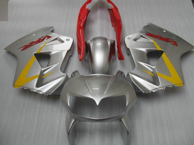 Motorcycle Fairing Kit For Honda Vfr800 98 99 00 01 Vfr 800 1998 1999 2000 2001 Abs Red Silver