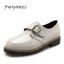 PHYANIC Fashion Brief Side Buckle Women Shoes 2017 White Black Flat Shoes Woman Leather PU Adult Platform Lady Oxford PHY6143