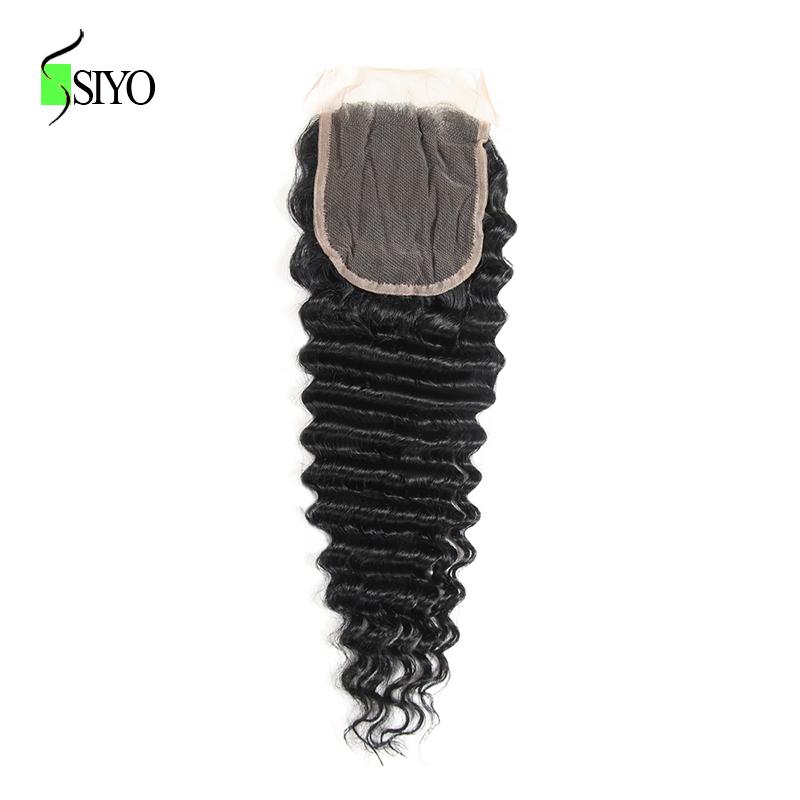 SIYO Hair Malaysian Deep Wave Lace Closure 8 22 inch 4*4 Free Part Non Remy Human Hair Closure Free Shipping
