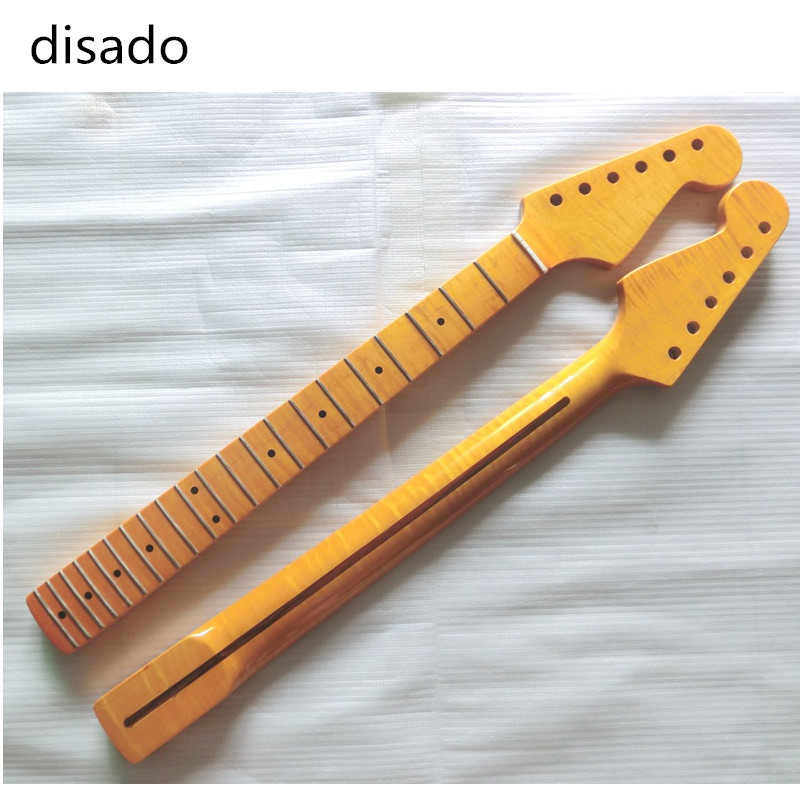 цены disado 21 Frets Tiger flame maple Electric Guitar Neck Wholesale Guitar Parts guitarra musical instruments accessories