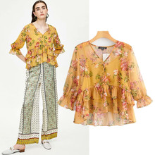 sweet spring summer women blouse long sleeve v neck ruffles print beach style ladies blouse shirts chiffon flare sleeve blouses