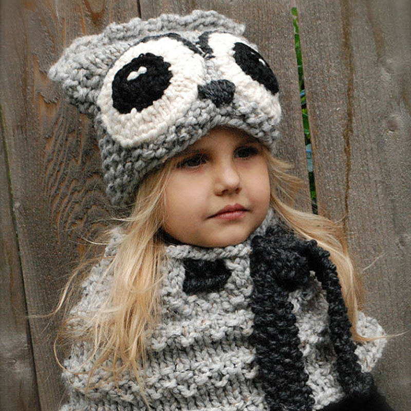 Handmade Child Owl Hat Cowl Set Lovely Cartoon Crochet Winter Beanie for Kids 3-10 Years