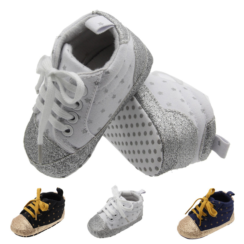 2018 Blue Silver Color Baby Boys First Walkers Baby Toddler Shoes Baby Shoes Fashion Soft Bottom Sneakers for Babies