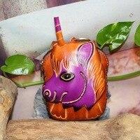 handmade genuine leather coin purse wallet bag cartoon gift mini cowhide coin purse
