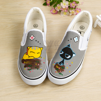 Children Shoes Cats Cartoon Movie Pictures Hand Made Painted Sneakers Casual Canvas Boys Girls Shoes School