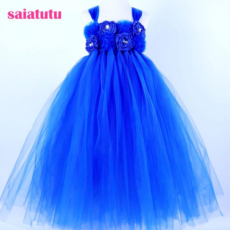 sapphire royal blue Flower Girl Tutu Dress Wedding Tulle Dress Girls Wedding Dresses Robe Kids Dress adjustable shoulder straps handmade crochet dress navy blue and royal blue girl tutu dress