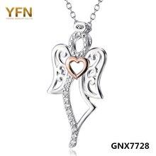 GNX7728 100% Real Pure 925 Joyas de Plata Cubic Zirconia Amor Ángel Colgante de Collar de La Joyería de La Manera Para Las Mujeres