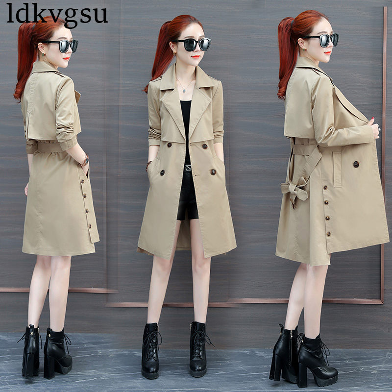 2019 New Windbreaker Coats Women long section Korean Spring Autumn Fashion Chic Ladies Double-breasted Long Trench Coat V314