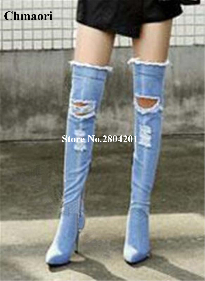 Broken Holes Boots Sexy Pointed Toe High Thin Heel Over The Knee Jeans Cowboy Boots Women Boots Denim Thigh High Boots Shoes