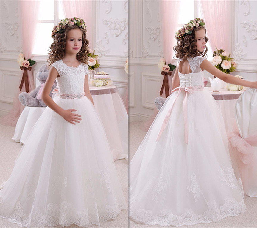 Ivory/White Lace Flower Girls Dresses for Wedding Floor Length Girls First Communion Gown Princess Dress 2-16 Old 2018