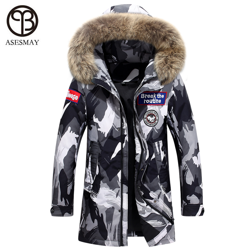 Asesmay de luxe hommes de mode vers le bas veste hommes manteau d'hiver wellensteyn plume d'oie parka vraie fourrure capuche puffer homme casual vestes