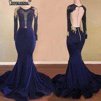 yiwumensa Mermaid Long Prom Dresses 2018 Sexy Sheer tulle See Through Back Long Sleeve Lace Navy Blue African Girl Prom Dress