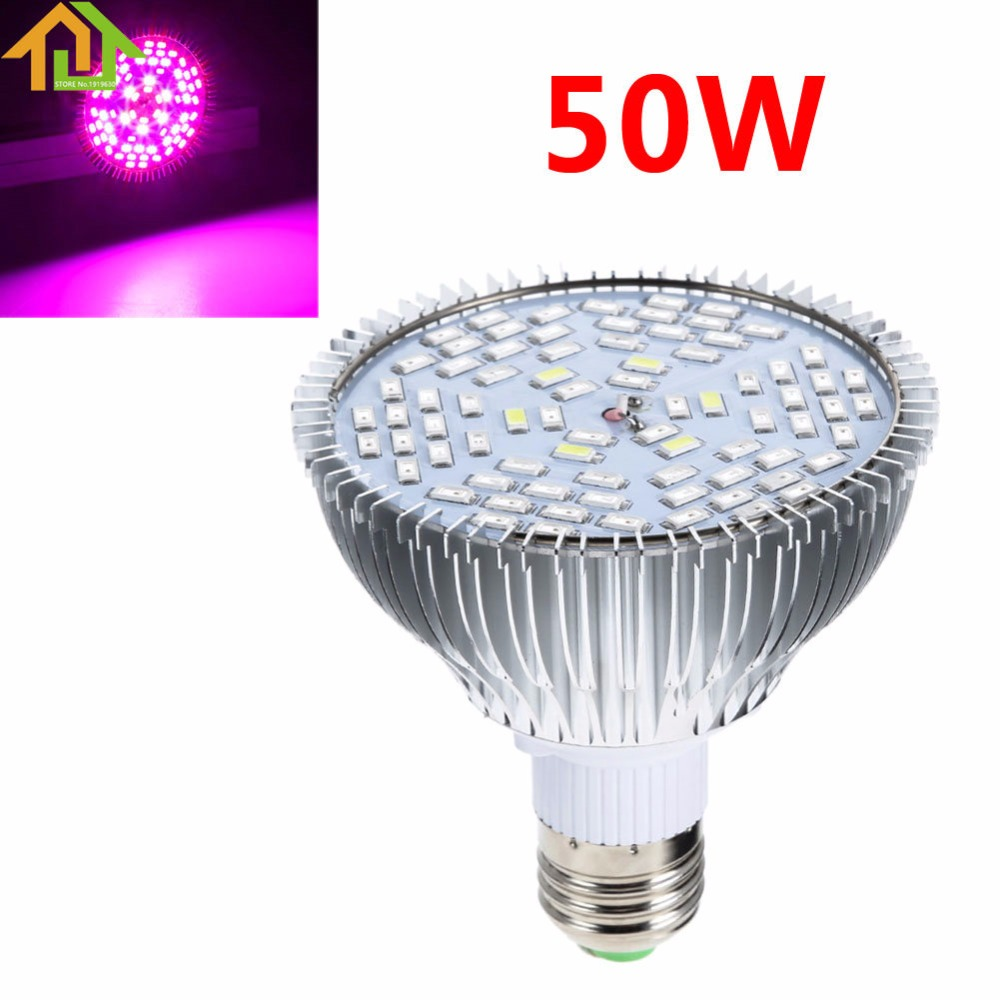 E27 50W Full Spectrum LED Plant Grow Lights Bulb Veg Hydroponic Lamps