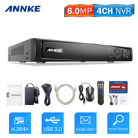 ANNKE 4CH 6MP POE NVR Network Video Recorder DVR For POE IP Camera P2P Cloud Function