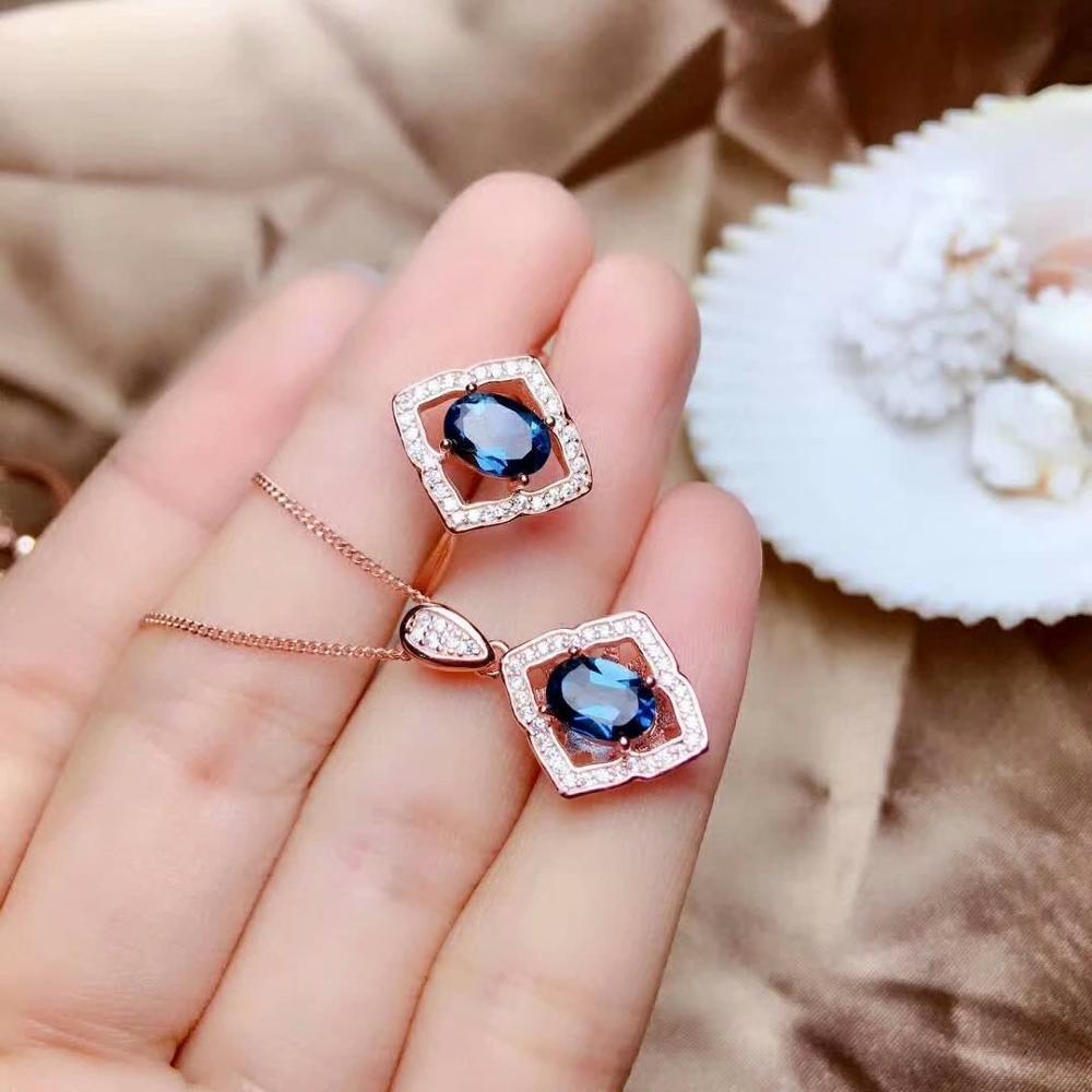 shilovem 925 sterling silver Natural blue topaz Rings pendants fine Jewelry women wedding open send necklace new mtz050711agb in Jewelry Sets from Jewelry Accessories