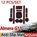Para Nissan Almera Ruso 2012 2013 Antideslizante Taza Cojín Felpudo De Goma Bluebird Sylphy 05-12 Accesorios Styling Car Sticker