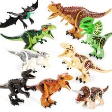 Jurassic World Dinosaurs Green Tyrannosaurus Rex Triceratops Building Blocks Toys For Children Dinosaur