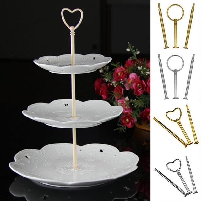 Multi Style 3 Tier Cake Plate Stand Handle Fitting Hardware Rod Plate Stand