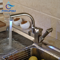 LED Modern Brushed Nickel Kitchen Faucet Deck Mounted Vessel Sink Mixer Tap Pull Out Sprayer Sink