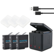 3Pcs Go Pro Lithium Battery For GoPRO Hero 7 Version Battery+3 Slots Charger For GoPro 7 Hero 6 Hero 5 2018 Camera Accessories цена и фото