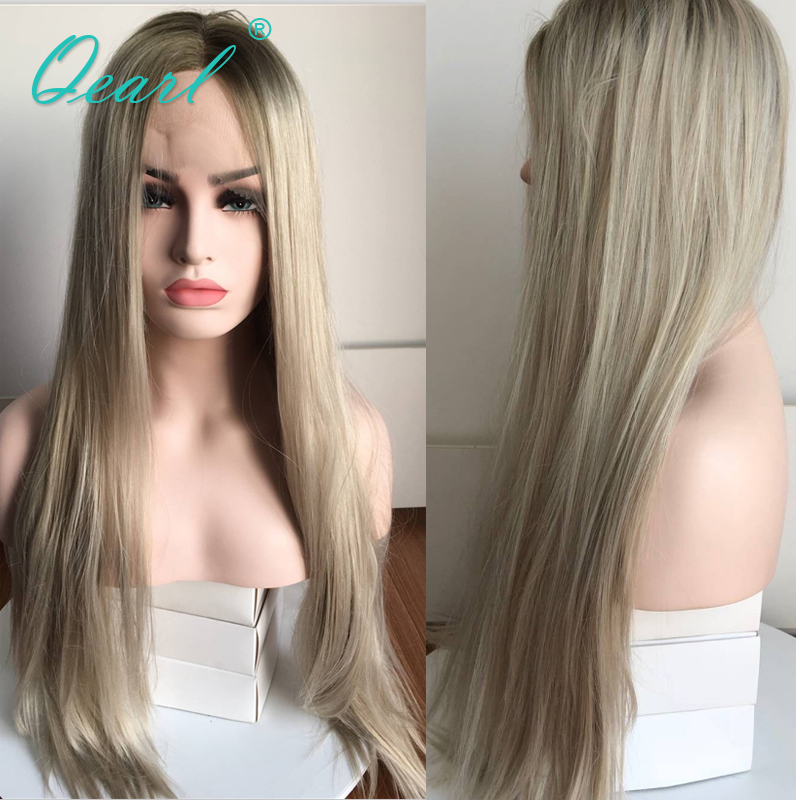 Middle Part Straight Human Hair Lace Front Wig With Baby Hairs Ombre Grey Blonde Color Brazilian
