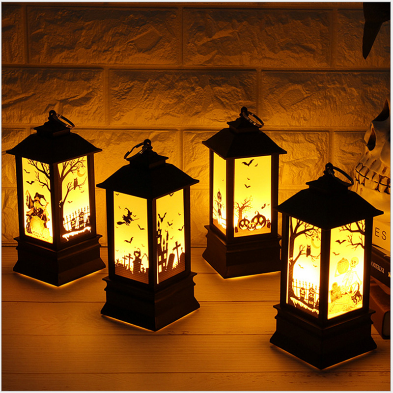 Halloween Vintage Pumpkin Castle Light Witch Skeleton Realistic LED Lantern Lamp Party Home Garden Hanging Decoration Lights
