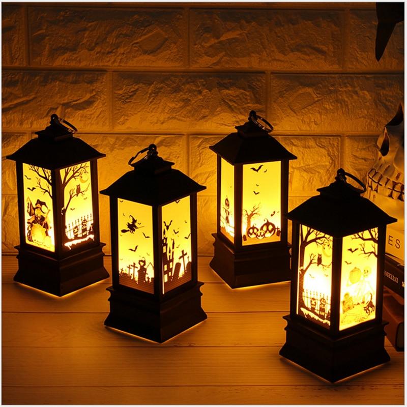 Halloween Vintage Pumpkin Castle Light Witch Skeleton Realistic LED Lantern Lamp Party Home Garden Hanging Decoration Lights