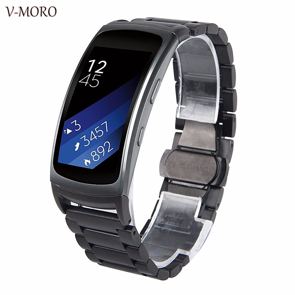 Black Fit 2 Stainless Steel Watch Replacement Bands For Samsung Galaxy Gear Fit 2 SM-R360 Large 6.5-8.1 inches (Metal Black) luxury silicone watch replacement band strap for samsung gear fit 2 sm r360 wristband 100