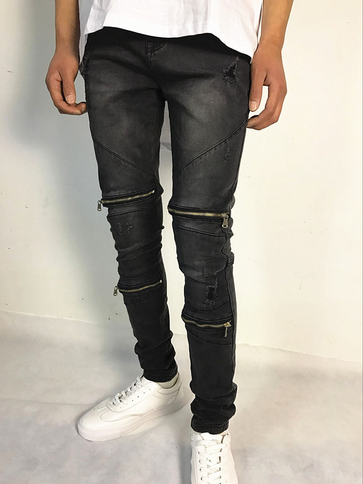 New Sale Knee Hole Ripped Mens Skinny Jeans Hip Hop Rock Bottom Zipper Stretch Denim Pants